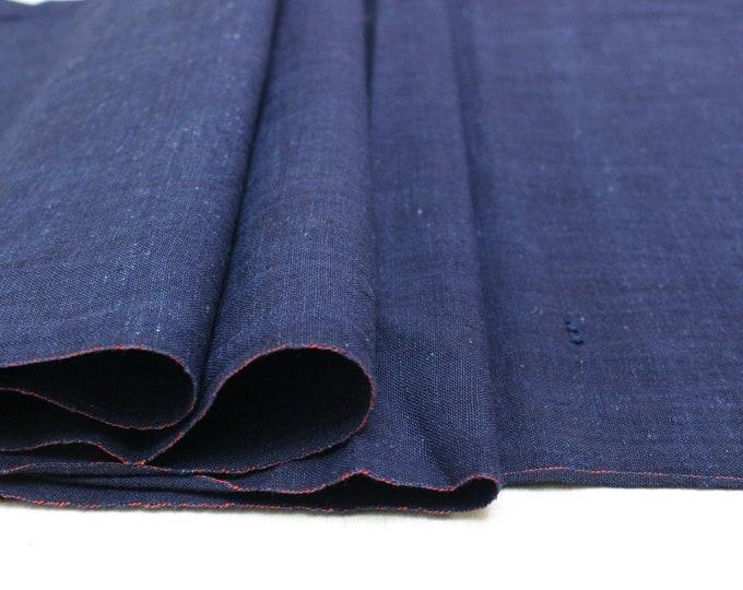 Japanese Indigo Cotton. Artisan Aizome Boro Textile. Blue Vintage Folk Fabric (Ref: 1724)