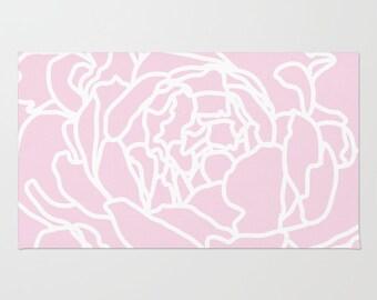 Modern Flower Area Rug - Pink and White Flower Rug - Modern Flower Rug - Abstract Flower Area Rug - Home Decor - Nursery Rug