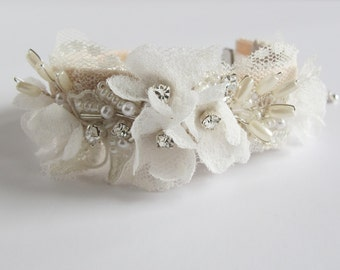 Lace and silk flower bracelet wrist cuff, bridal wedding accessory/jewellery, crystals, ivory blush