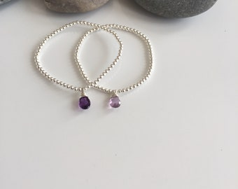 Sterling Silver amethyst bracelet. Silver and amethyst bracelet. Silver and amethyst bracelet. Amethyst charm bracelet. Amethyst bracelet.