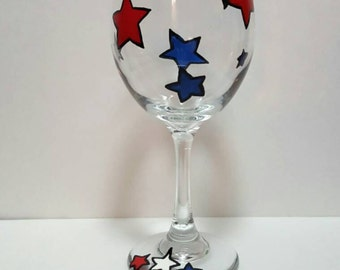 Hand painted wine glass fourth of July labor day memorial day stars patriotic glass red white and blue custom glass stars on glass