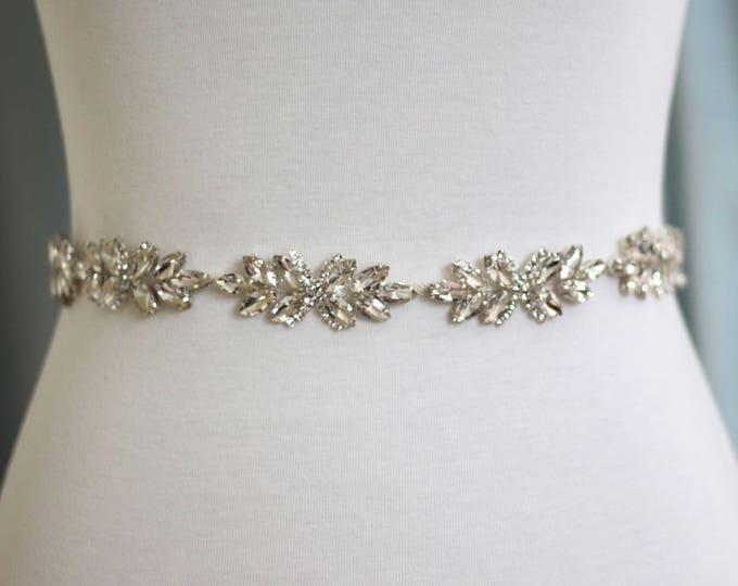 Crystal Bridal Belt - The Perfect Dainty  Bridal Sash and Wedding Belt B07