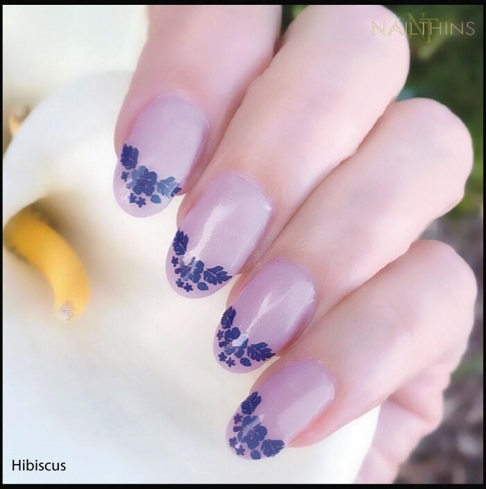 🔎zoom - Hibiscus Nail Decal Hawaii Flower Pink Blue Or Red Hawaiian