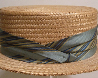 "22 1/2"" = Vintage 1950's Mid Century Men's Straw Boater Hat"