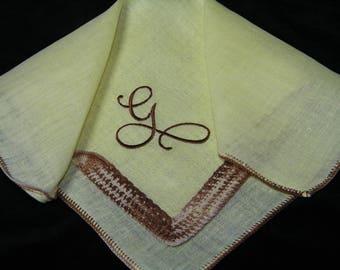 "Vintage 40's Brown on Yellow Monogram ""G"" Ladies  Handkerchief - 9860"