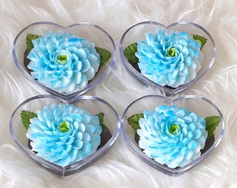 Blue Zinnia Set of 4 Hand Carved Decorative Soaps with Jasmine Aroma Essential Oil, Handmade Flower Soap Carving by Thai Artisan.
