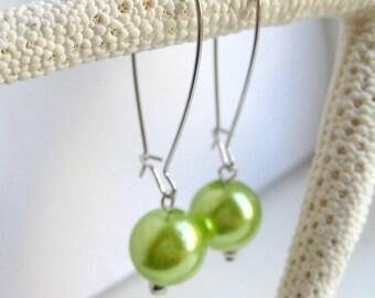 Green Faux Pearl Kidney Wire Earrings