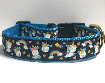 "1"" Rainbows & Unicorns Collar"