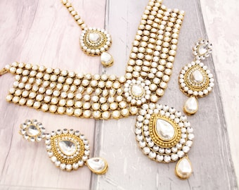Gold Indian Bollywood Necklace Set with Earrings, Tikka Headpiece & Jhoomer Bridal Wedding