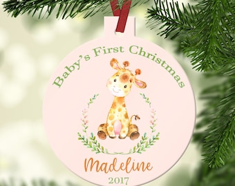 Personalized First Christmas Ornament~ Baby's First Christmas~My first Christmas~Giraffe Watercolor ~Jungle~Christmas Ornament~Baby Ornament