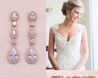 Rose gold Bridal Earrings, Crystal Wedding Earrings,  Bridal Bracelet, Long, Wedding Jewelry, Bridal Jewelry, Marisa Bridal Earrings