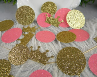 Crown Princess Jumbo Confetti Baby Shower Decoration / Pink and Gold Party / Polka Dots and Crowns / First Birthday Girl / 100 ct