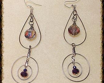 Long Dangle Hoop &Crystal Earrings