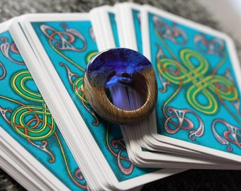 Crystal Ball - Blue Resin and Wood Ring