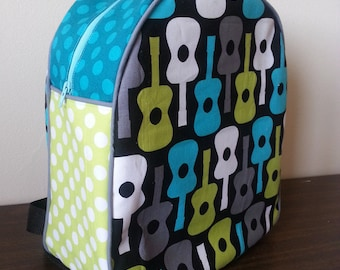 Childrens Backpack, Preschool Backpack, Personalized Backpack, Custom Backpack. Kindergarten, Kids Backpack, Toddler Backpack, Guitars