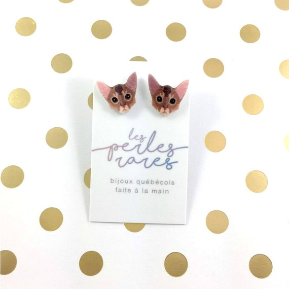 abyssinian, Cat, earring, brown, catlover, race cat, light, hypoallergenic, plastic, stainless stud, handmade, les perles rares