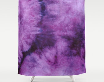 Fabric Shower Curtain-Plum Purple Tie Dye-Decorative Shower Curtain-71x74 inches,