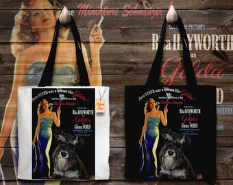 Miniature Schnauzer Art Tote Bag - Gilda Movie Poster   Perfect DOG LOVER Gift for Her Gift for Him