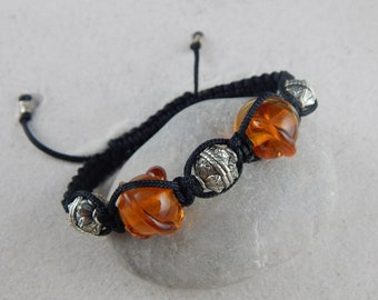 Braided bracelet * Solstis * 5 beads - amber yellow pattern