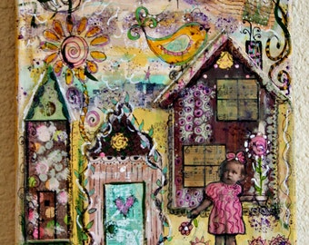 Funky Houses With Little Country Girl Original Mixed Media Collage Art  8 x 10 Canvas by Charlotte Littlejohn