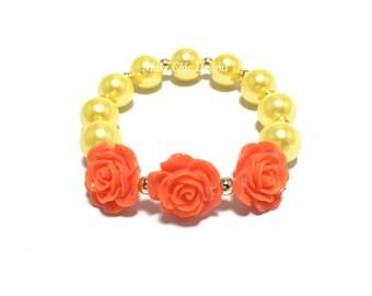 Toddler or Girls Orange Flower Small Beaded Bracelet - Girls Orange and Yellow Bracelet - Triple Rose Bracelet - Tropical Flower Bracelet