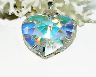 Crystal Prism Necklace | Swarovski Crystal Pendant | Heart Necklace | Wife Gift Ideas Anniversary | Necklace for Girlfriend | A0213