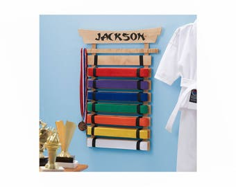 Personalized Karate Belt Display - 8 Belts