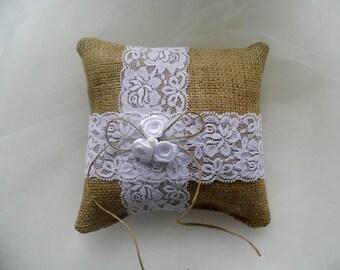 Burlap ring bearer pillow, rustic ring bearer pillow, barn wedding, country style wedding, burlap and lace, handmade pillow