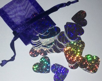 Silver Holographic Large Heart Shaped Confetti - Party Decorations - Wedding/Table confetti sparkles