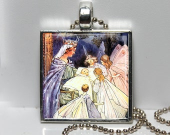 SLEEPING BEAUTY Margaret Tarrant Illustration Altered Art Glass Pendant Charm Necklace