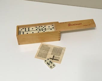 Vintage Set of Dominoes Double Six with original Instructions and 1 extra game piece (29 total)