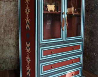 Vintage Books Showcase Cabinet unique-Navajo Spirit
