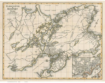 Gloucester & Rockport Map 1937 Massachusetts Road Map Placenames