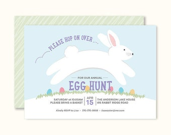 Easter Egg Hunt Invitation, Printable, 7 x 5, Party Invitation