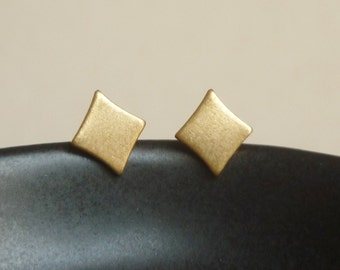 Teeny Tiny Brass Gold Diamond Stud Earrings Sterling Silver Posts, Bridesmaid Gift,Minimal Jewelry,Everyday Jewelry,Simply Jewelry,Geometric