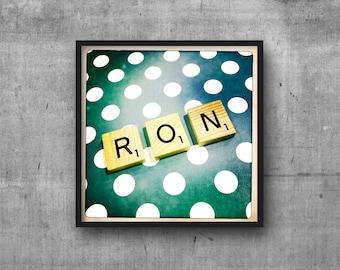 RON - RONALD - Name Art - Scrabble Tile Name - Art Photo - Photography Art Print - Name Sign
