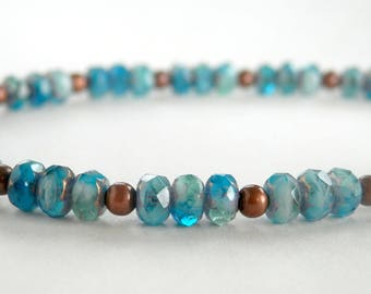 Blue and Copper Bracelet - Czech Glass Bead Bracelet - Blue and Aqua - Dainty Bracelet - Small Bead Bracelet - Girls Size - Plus Size