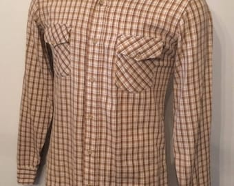 Vintage MENS 70s Sears Kings Road brown, ivory & tan plaid flannel shirt, size M