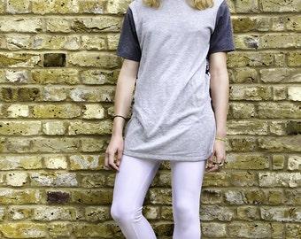 Camiseta del sexo / porno grabado asimétrico gris / ciclos de hasta