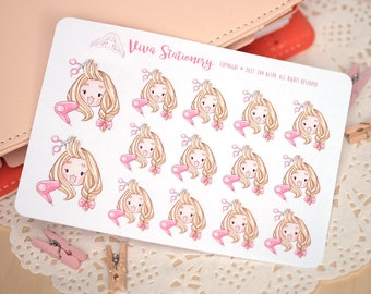 Kawaii Girl Hairdresser appointment, haircut, hairstyle, Decorative Stickers ~Valerie~ For your Life Planner, Diary, Journal, Scrapbook...
