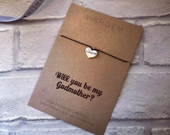 Will you be my Godmother wish bracelet, wish string, proposal