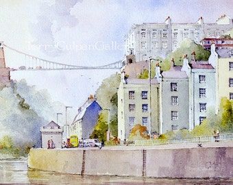 Bristol River Scene Brunel's Historic Suspension Bridge Avon Gorge Unique Home Office Decor House Warming New Home Mounted Watercolour Print