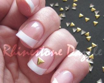 4mm gold triangle nail studs, nail art, 3D nail design, diy, nails, gold triangles studs, gold nail art, nail decoration