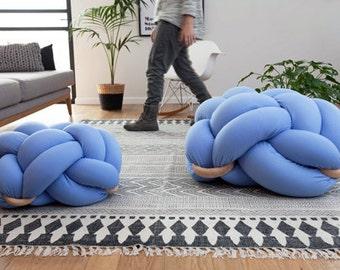 Medium Knot Floor Cushion in  Light Blue ,Knot Floor Pillow pouf, Modern pouf, cushion, pouf Pouf Ottomans