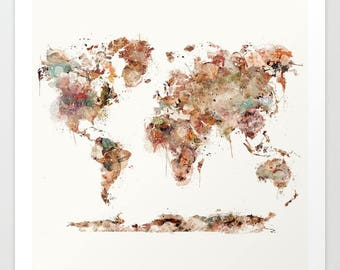 Colorful world map etsy world map watercolor map of the world world maplorful world map gumiabroncs Images