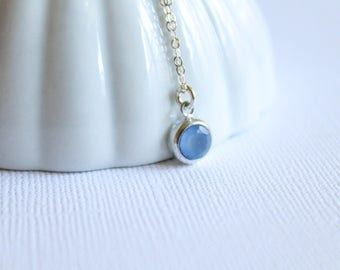 Blue Chalcedony Round Drop Necklace in Sterling Silver