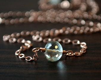Choker Necklace, Green Amethyst Jewelry, Rose Gold, Prasiolite Gemstone, AAA Genuine Stone, Simple, Minimalist Style, Free Shipping