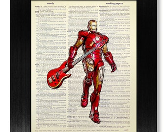 DORM DECOR - Iron Man with Guitar Poster, SUPERHERO Wall Art, Living Room Decor, Justice League Art, Tony Stark Print, Music Decoration Gift