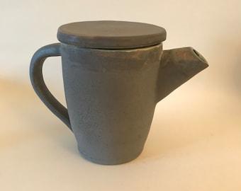 Matte Grey and Blue Ceramic Teapot