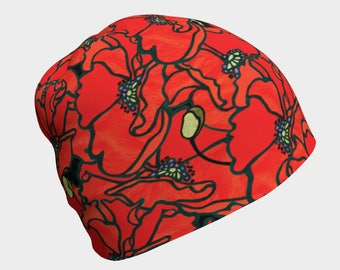 Adult/Child Beanie - Poppies